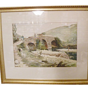 European Watercolor Scenic Stone Bridge and Pastoral Painting from High End Estate