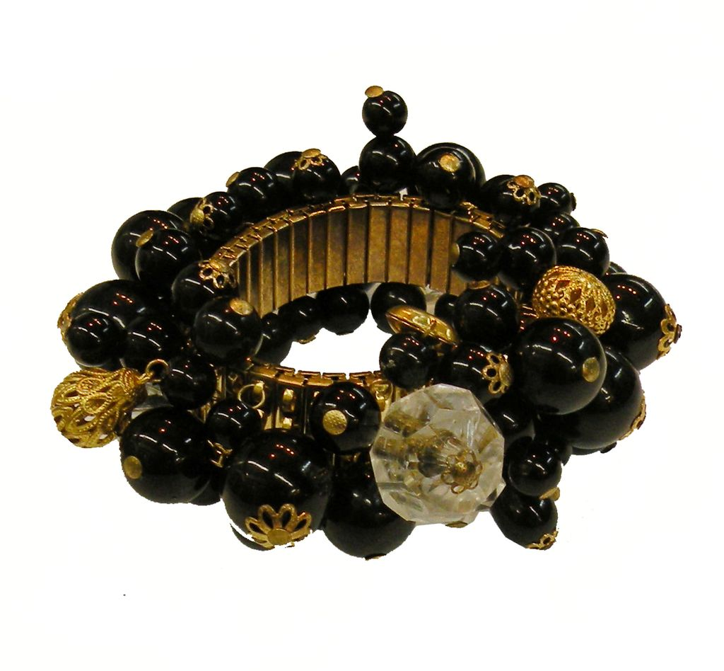 Expandable Cha Cha Bracelet with Black, Brass and Faceted Crystal Beads