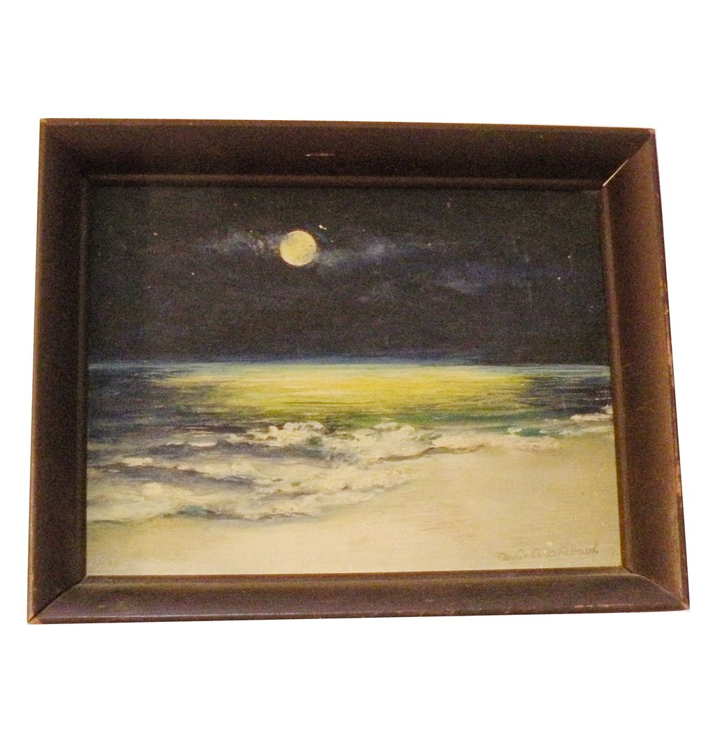 Modernist A.G. ARCHIBALD Moon over the Ocean Oil in Wood Frame-Impressionist Painting