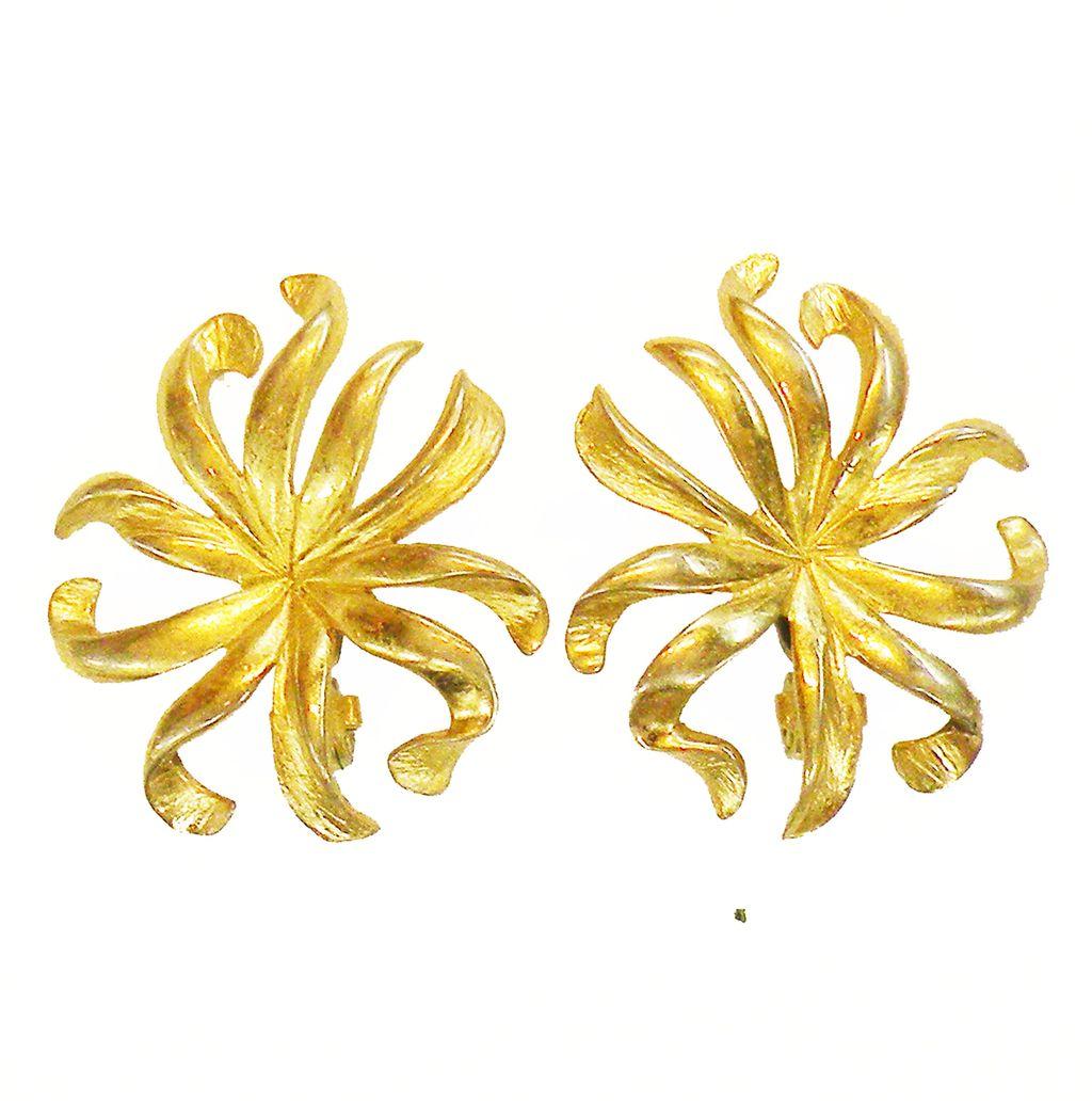 MONET Patented Lever Back Wild Flower Stalk Earrings
