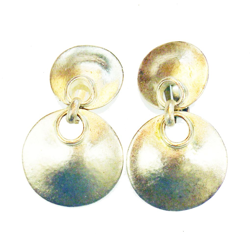 Matte Silver Tone Base Metal Modernist Sculptural Drop Earrings