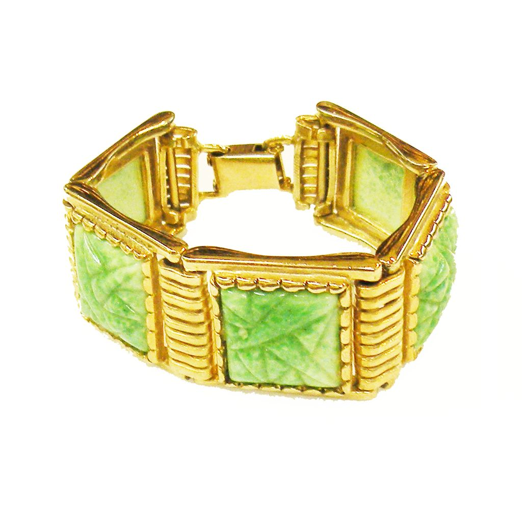 Gorgeous Molded Peking Green Glass Panel Bracelet