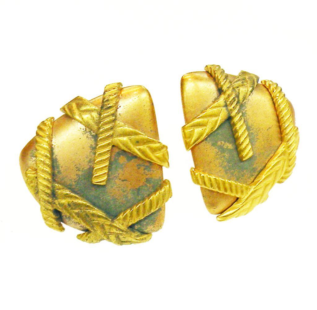 MONET Darkened Copper and Brass Tone Triangular Earrings