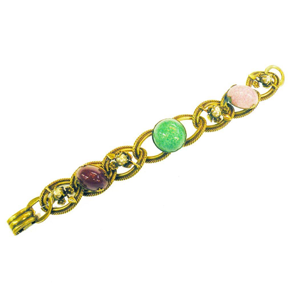 Baroque Multi Color High Domed Cabochon Link Bracelet