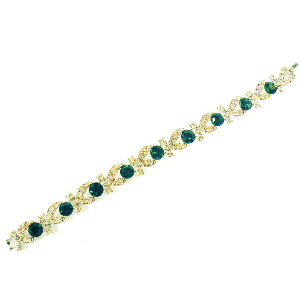 LISNER Sparkling Green and Icy Clear Rhinestone Movie Star Bracelet