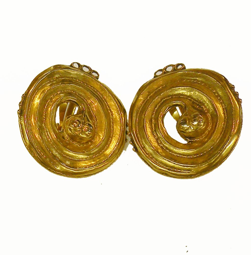 1978 MMA Serpentine Snake Design Coiled Matte Gold Tone Finish Earrings