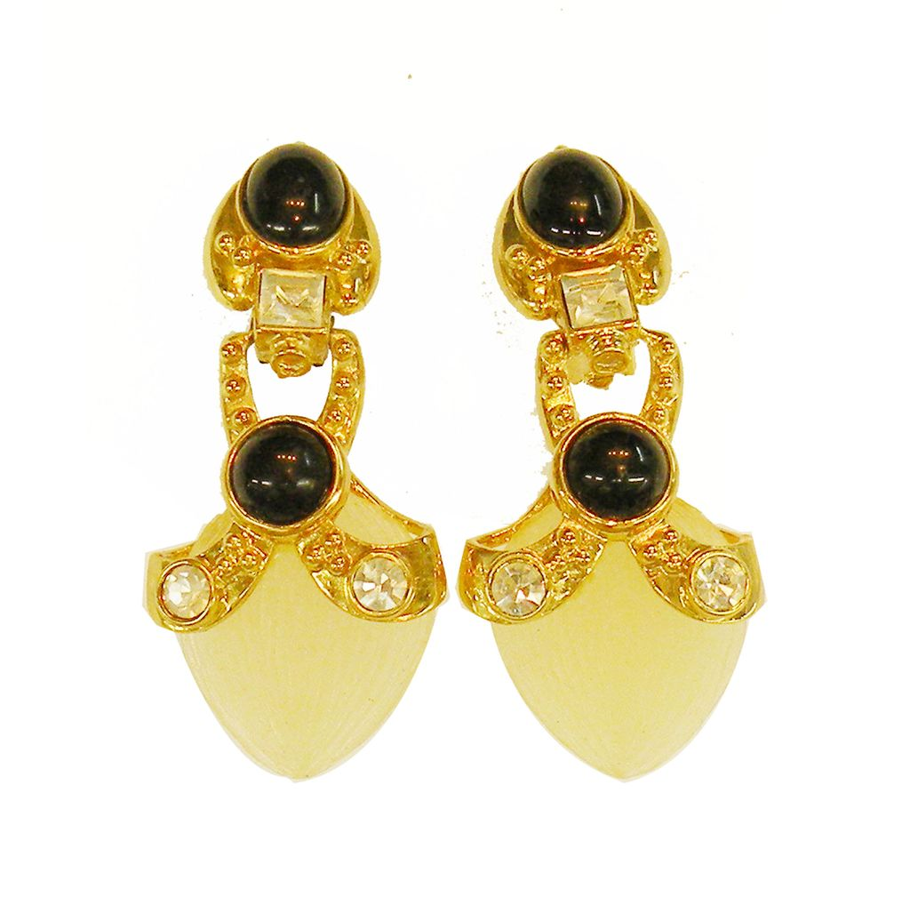 Frosted Molded Lozenge Drop Earring with Black Cabochons and Rhinestones