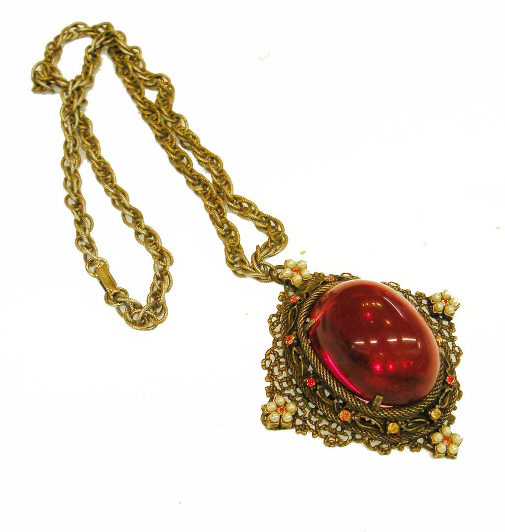 Jello Red High Domed Cabochon Baroque Filigree Pendant Necklace