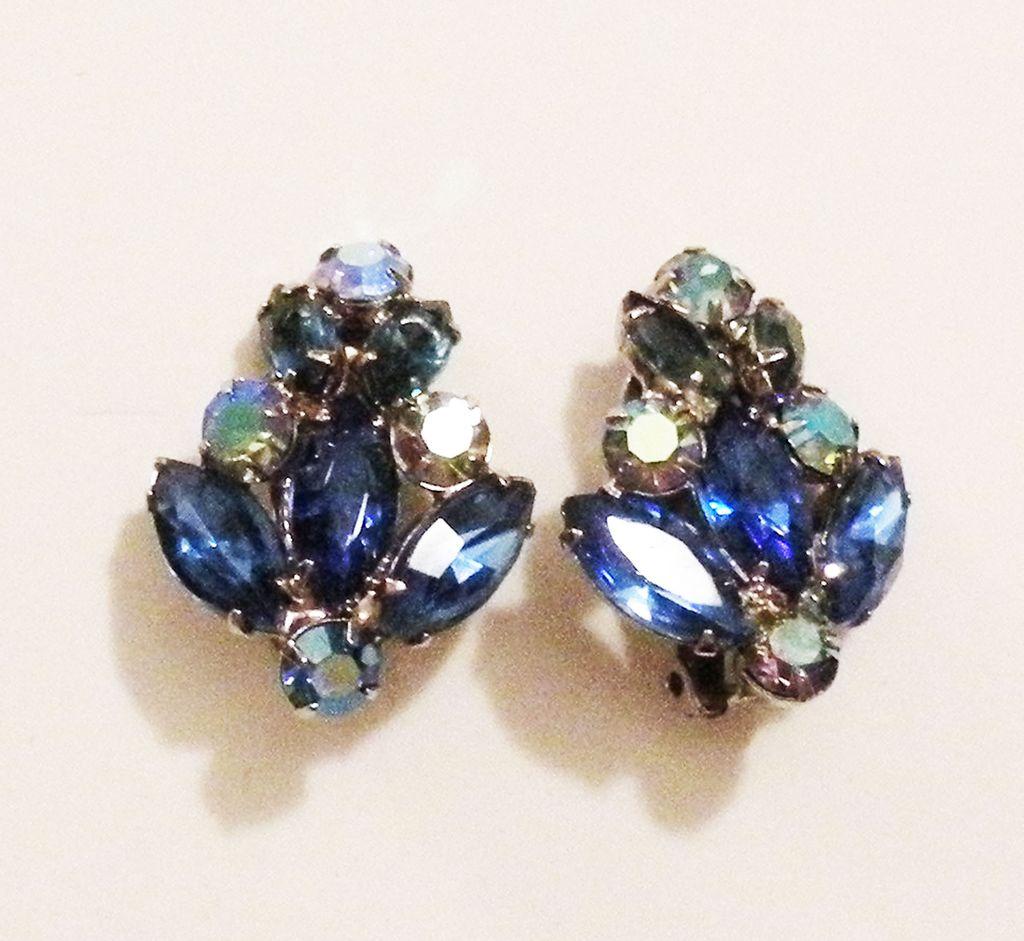 Beautiful Shades of Blue Fleur de Lys Rhinestone Earrings