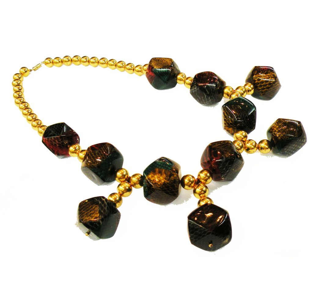 Fabulously Funky 1970s Animal Print Shaped Bead and Gold Tone Metal Ball Bib Necklace