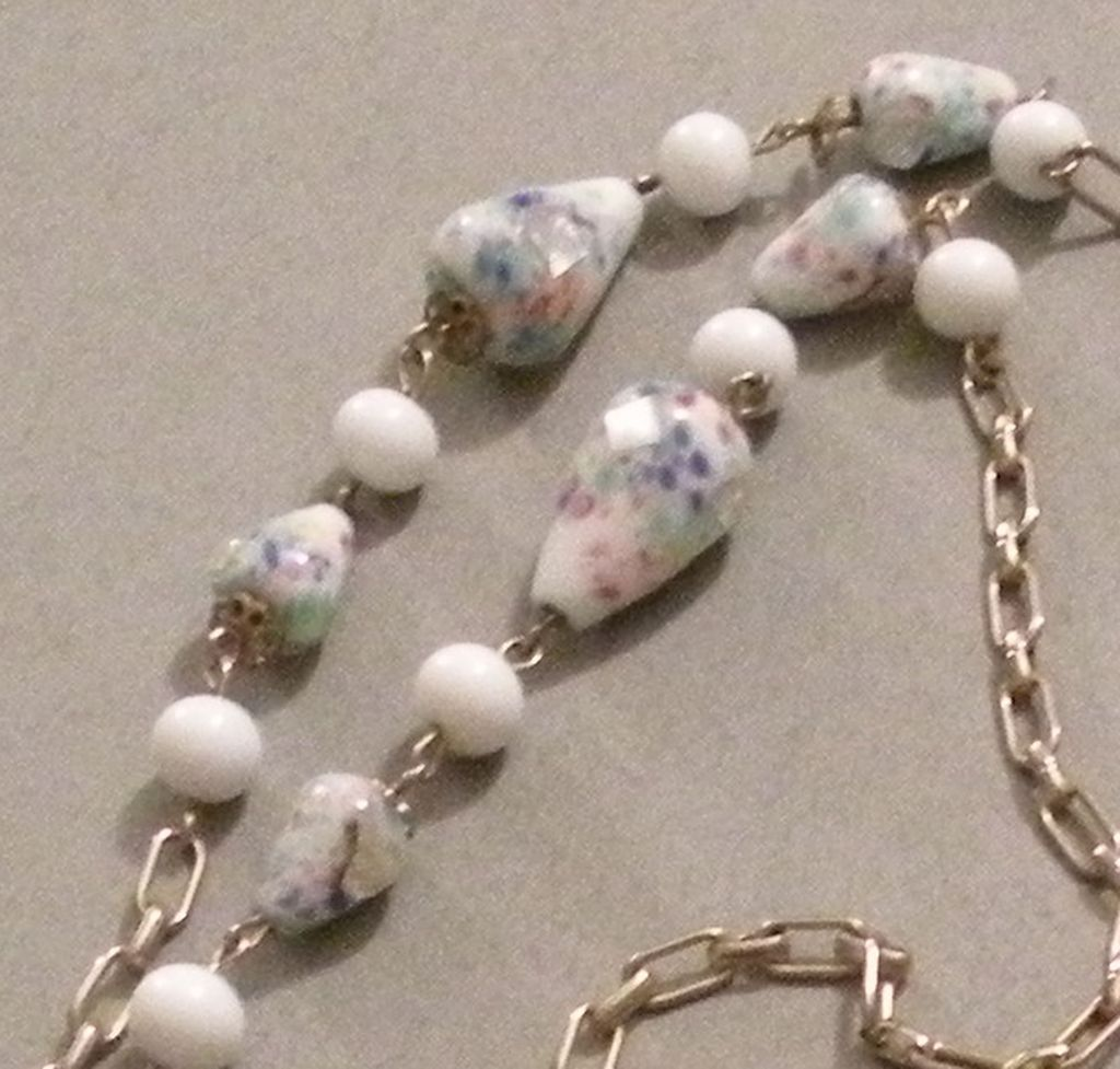 Murano Glass White and Pastel Art Glass Beads with Solid White Beads and Chain Sautoir Necklace