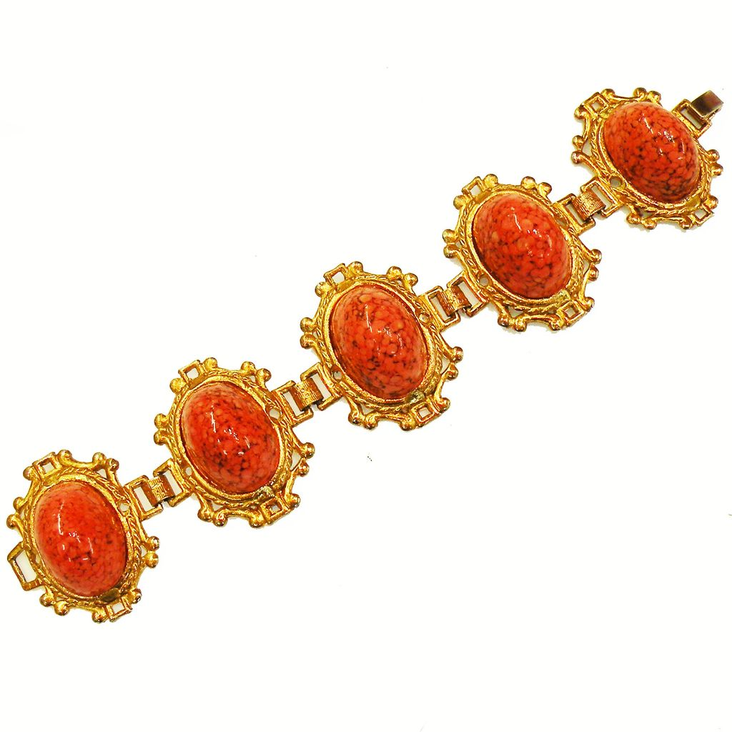 High Domed Coral Colored Mottled Cabochon Link Bracelet