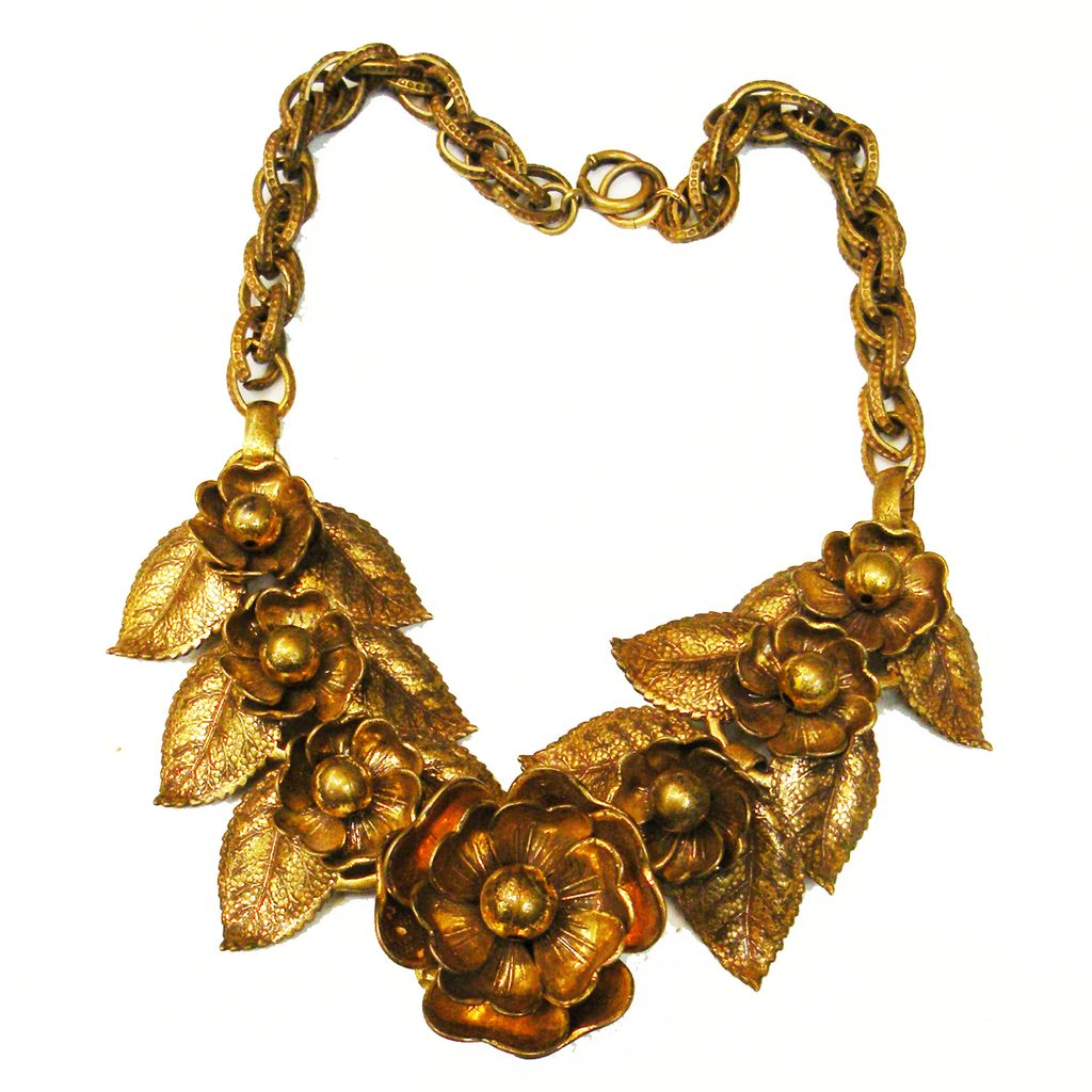 Breathtaking Baroque Fall Foliage and Flowers Brass Tone Necklace