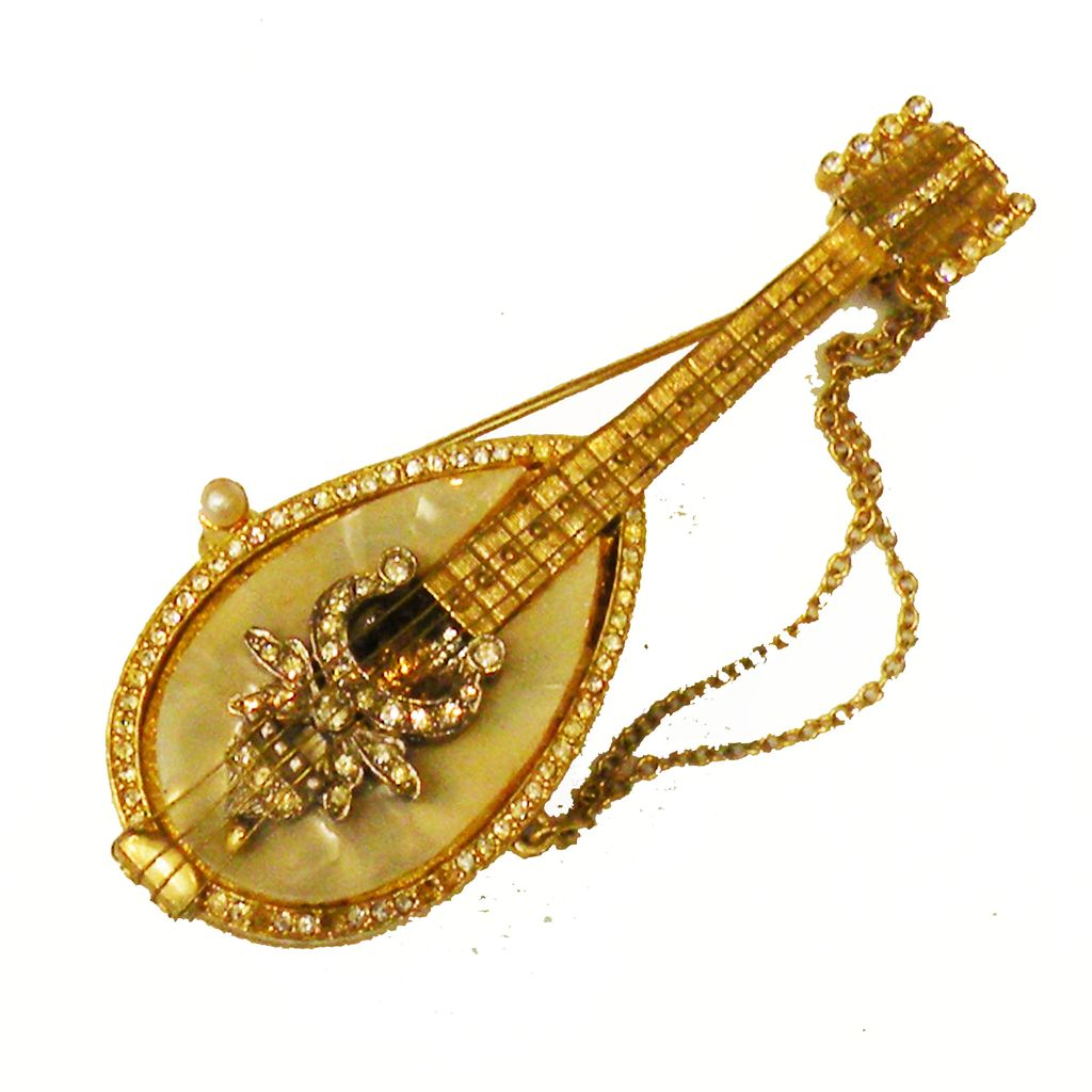 MANDEL Mother of Pearl and Rhinestone Gold Tone Metal Mandolin Brooch