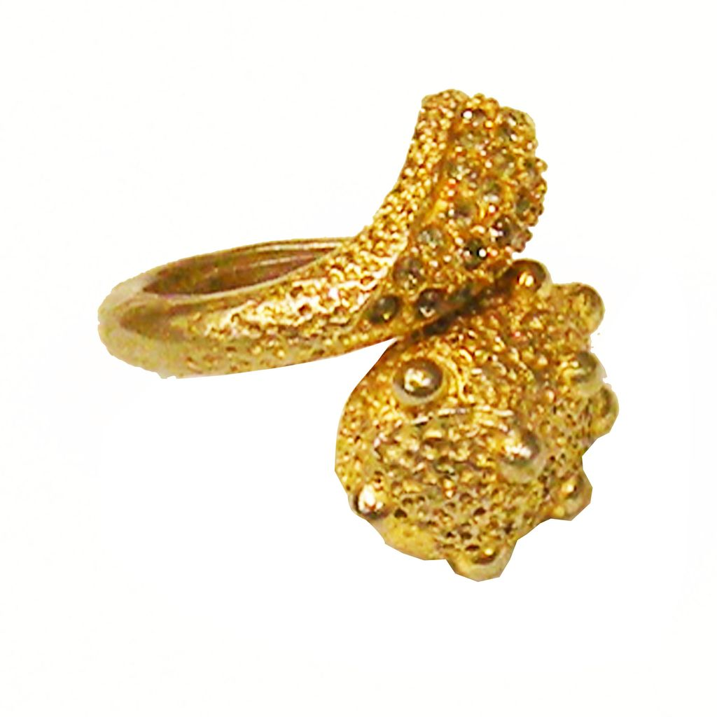 PAULINE RADER Lunar Surface Gold Tone Metal and Smoke Rhinestone Bypass Ring