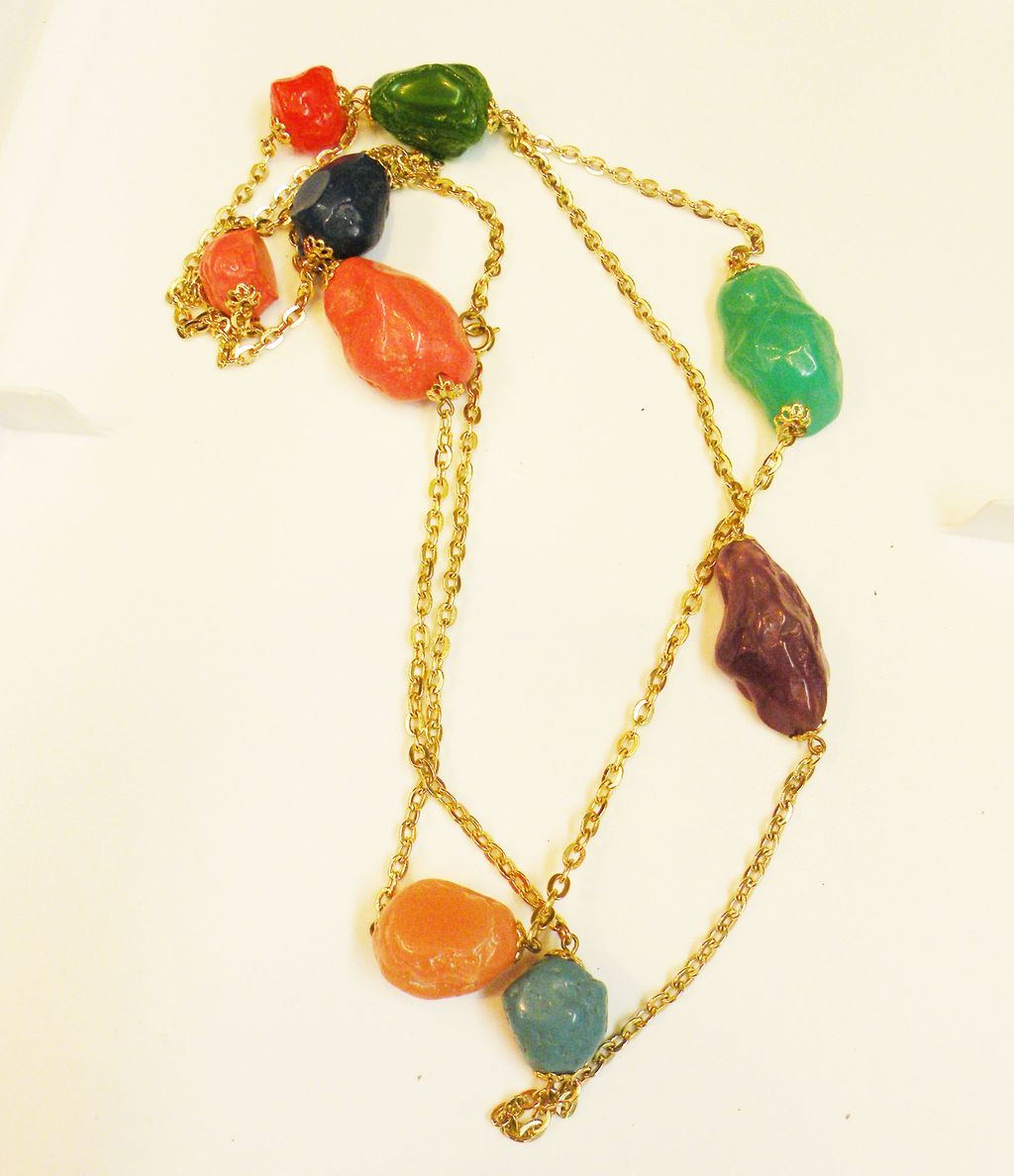 Multi Color Chunky Free Form Long Sautoir Necklace