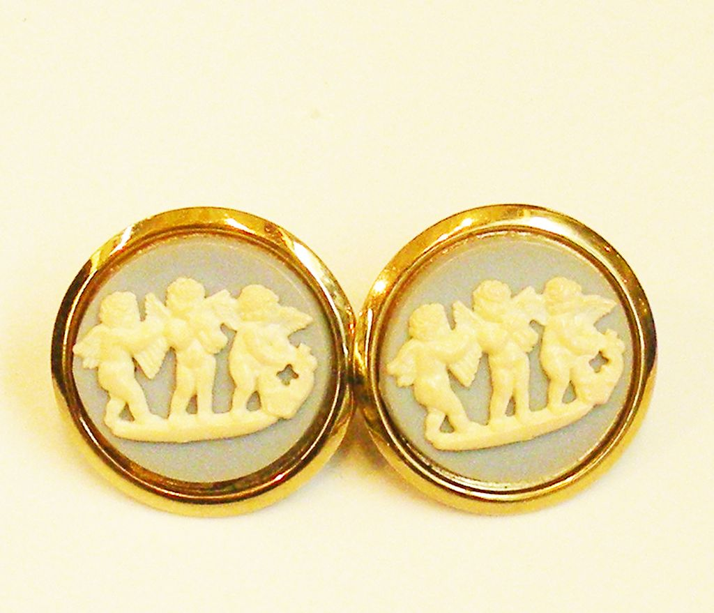 Three Cupids Wedgwood Blue and Cream Colored Cameo Cuff Links