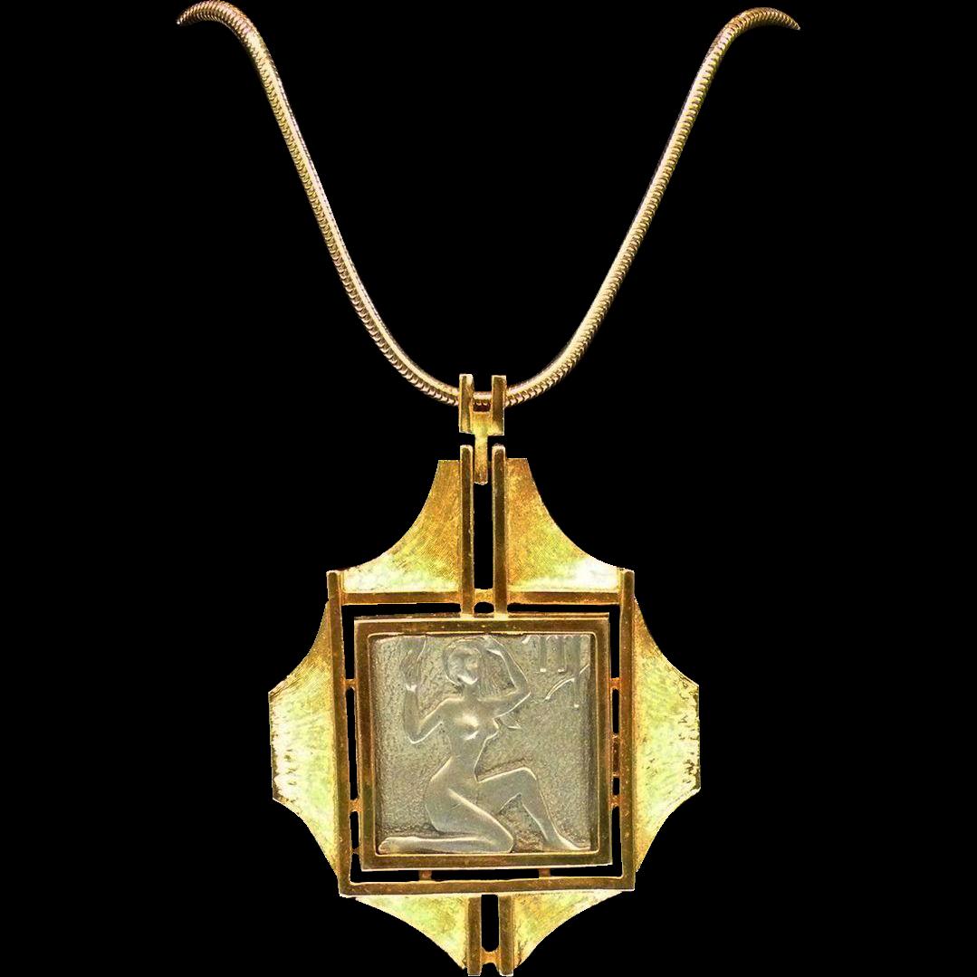 RAZZA Signed Virgo Zodiac Pendant Necklace on Snake Chain