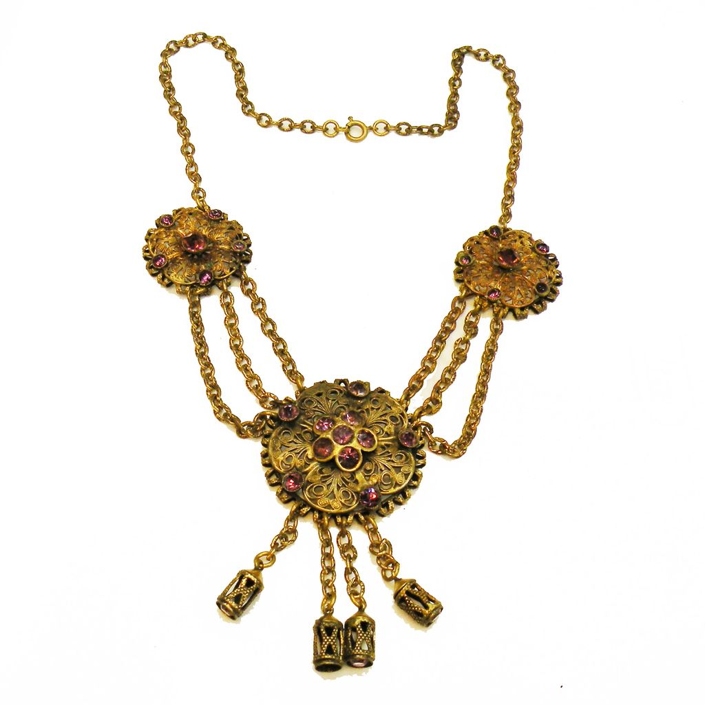 Baroque Brass and Purple Rhinestone Drop Festoon Necklace with Tassels