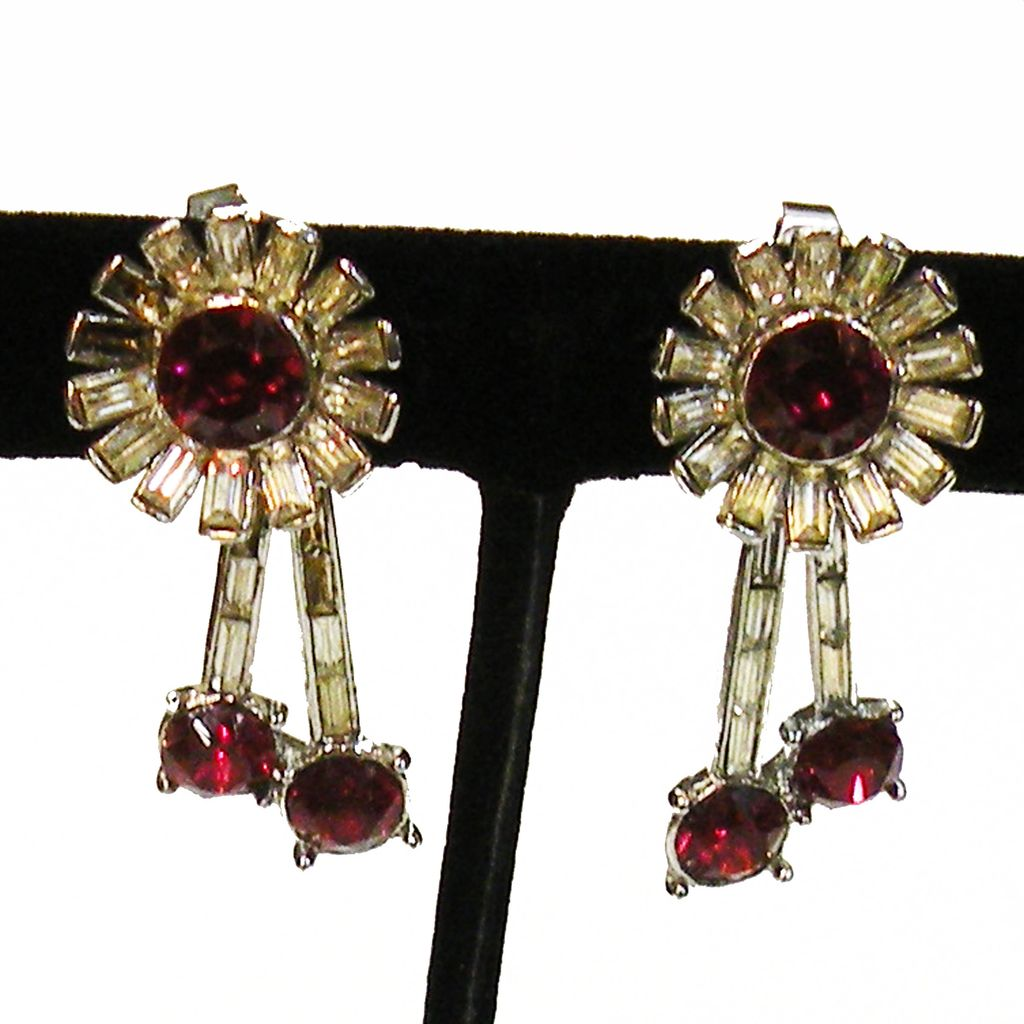 TRIFARI Ruby Red and Clear Glass Rhinestone Sunburst Drop Earrings