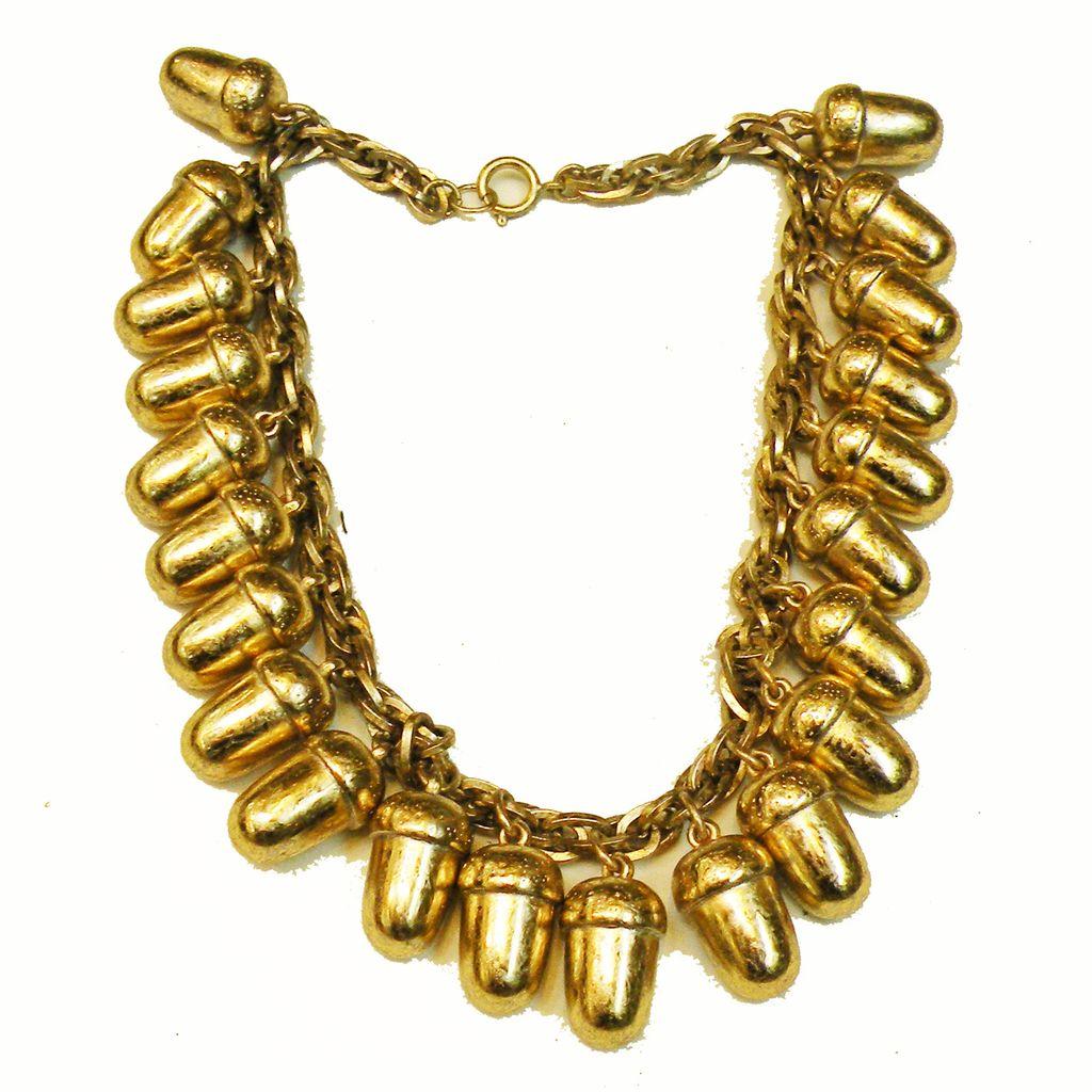 Pale Gold Tone Metalized Composite Acorn Drop Necklace