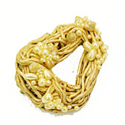 Paper Mache Spaghetti Strand and Seed Pearl Studio Brooch