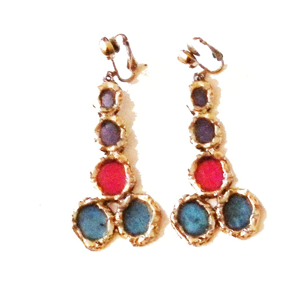 Plique a Jour Effect Mogul Colored Resin Drop Earrings