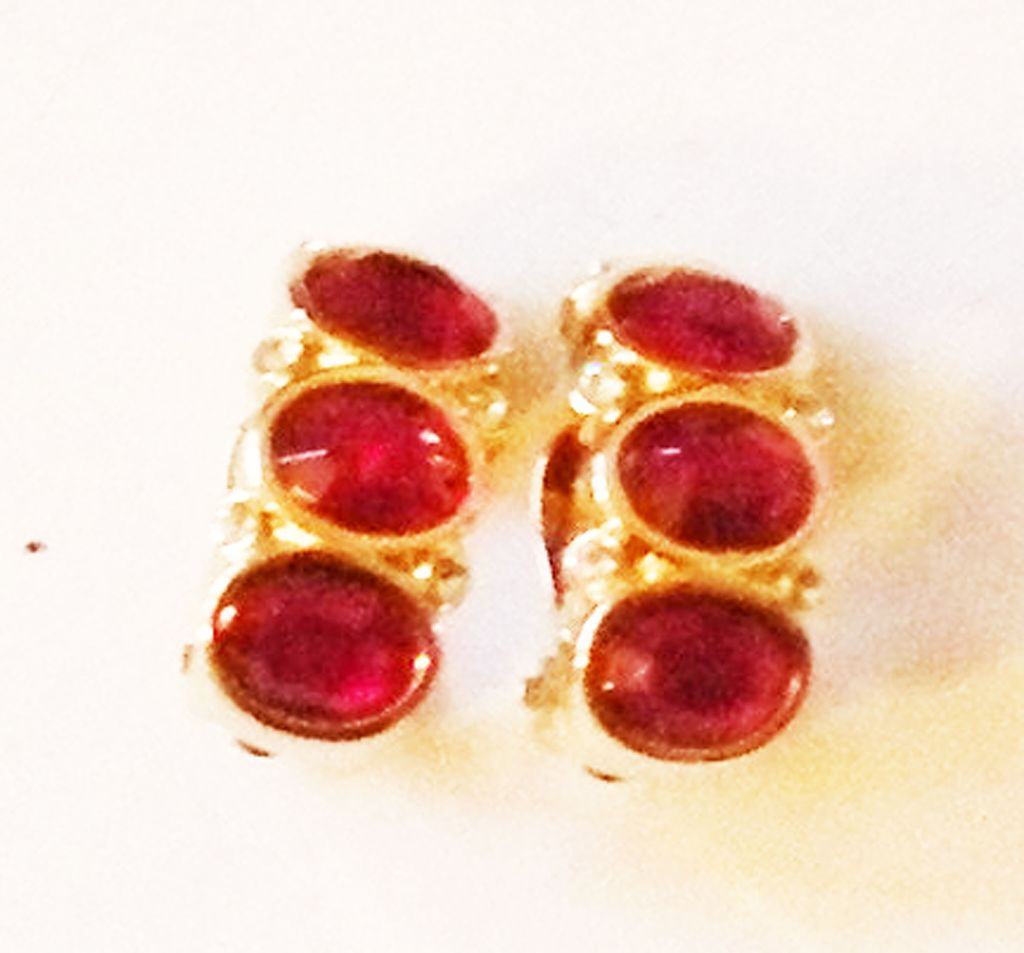 SWAROVSKI Deep Red and Rhinestone Crystal Huggy Earrings