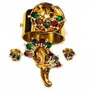 McCLELLAND BARCLAY Multi Color Rhinestone Cuff Bracelet, Brooch, Earrings Estate Set
