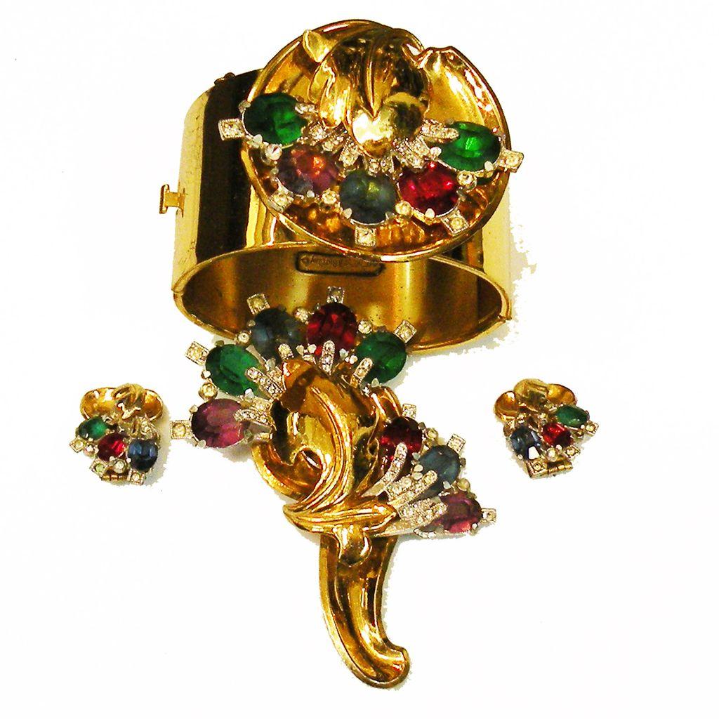 McCLELLAND BARCLAY Multi Color Rhinestone Cuff Bracelet, Brooch, Earrings Estate Set