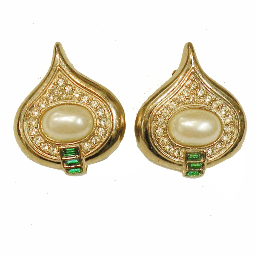 Imitation Pearl, Pave and Green Glass Gorgeous Tear Drop Shaped Earrings