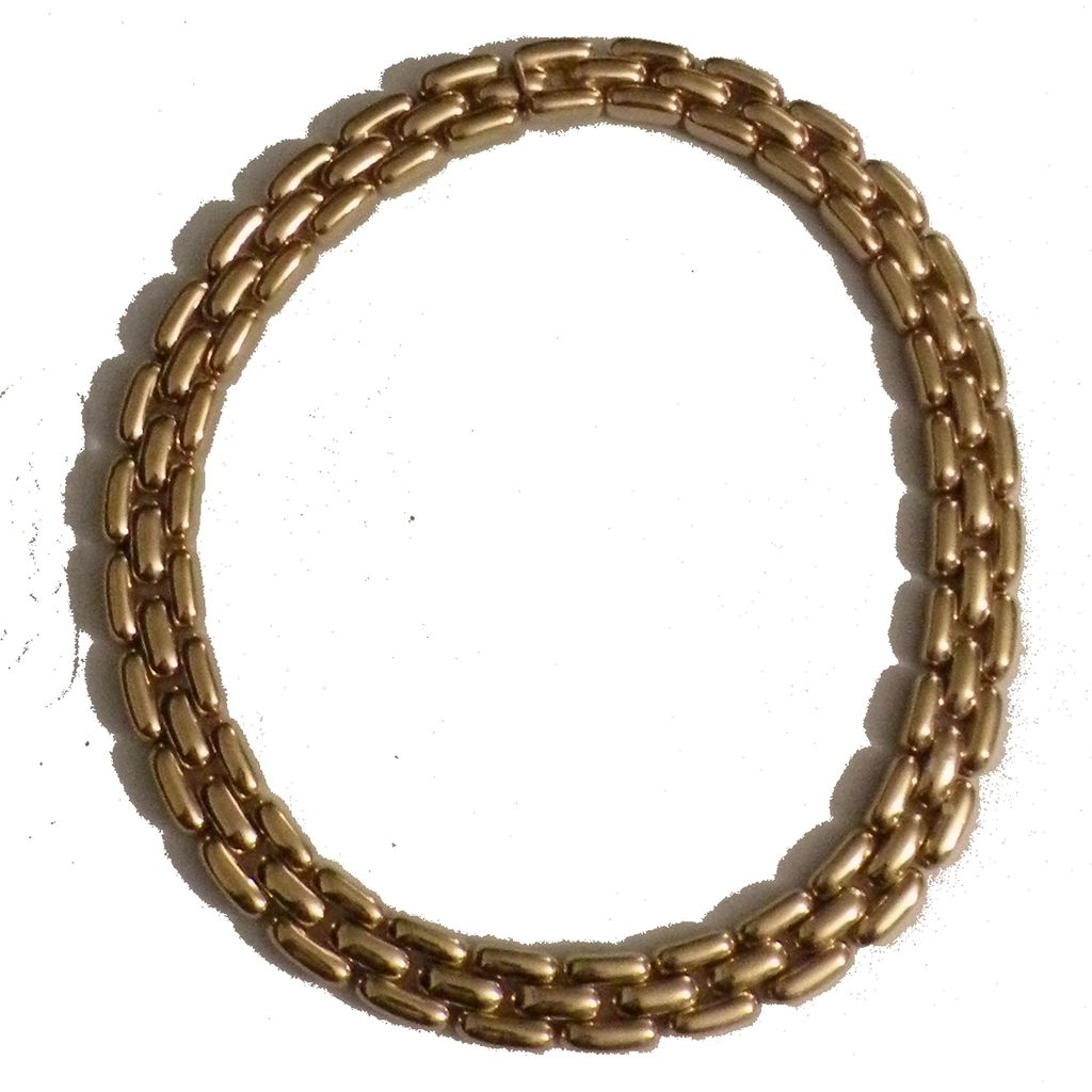 CINER Always Elegant Triple Row Gold Tone Metal Link Necklace