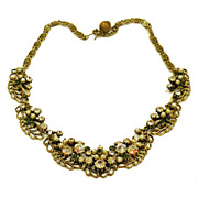 FLORENZA Fabulous Aurora Borealis Rhinestone and Brass Necklace