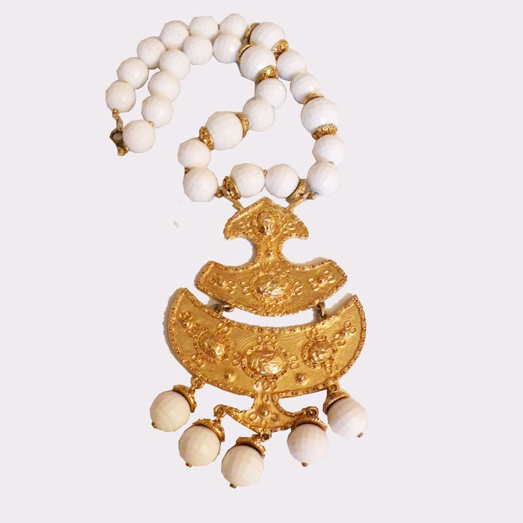 Giant Faceted White Bead and Gold Tone Metal Etruscan Revival Pendant Necklace