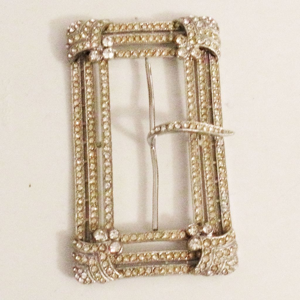 Early Paste Rhinestone Belt Buckle