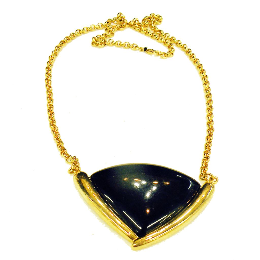 MONET Chunky Black Resin Drop Necklace in Gold Tone Setting