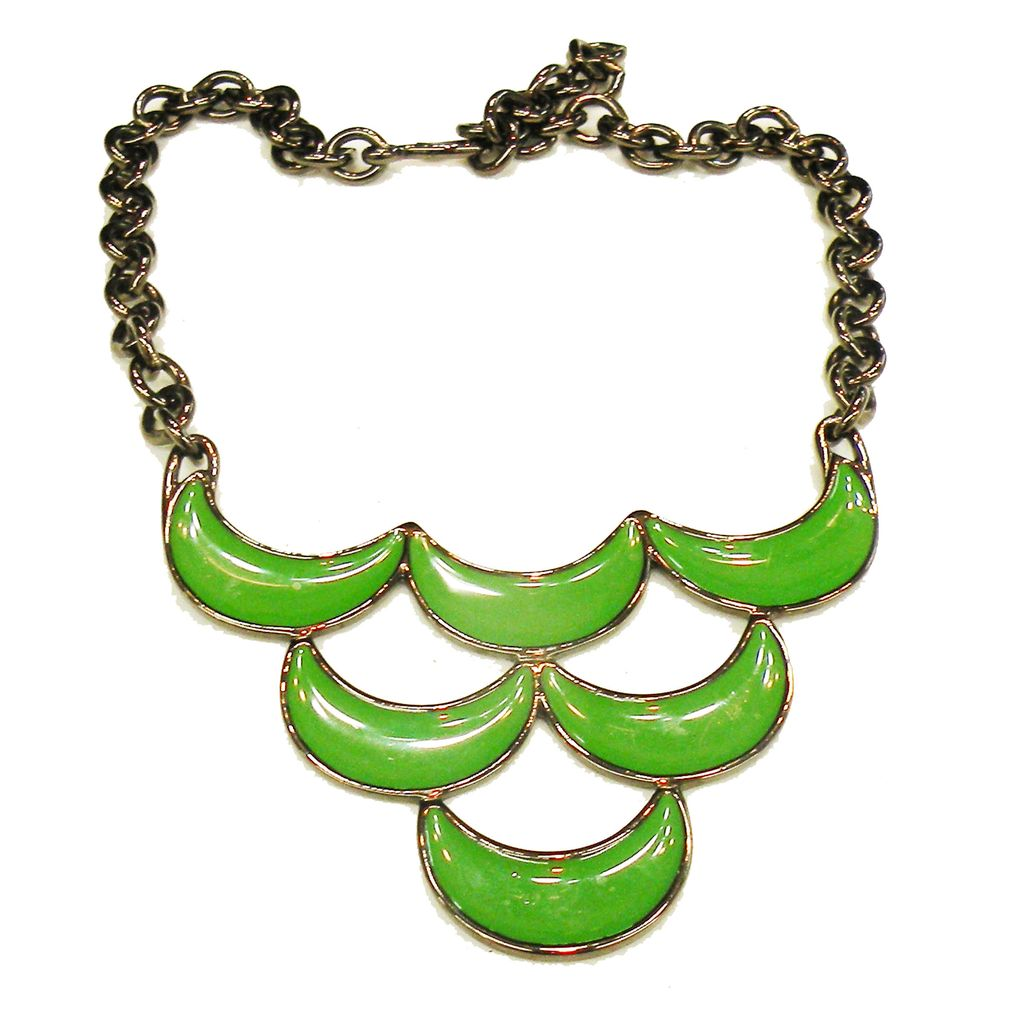 MONET Green Enamel on Darkened Metal Back and Chain Necklace