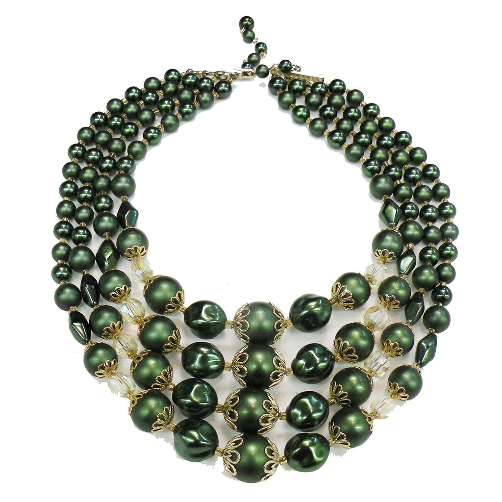 Signed JAPAN Green Bead and Crystal Four Strand Necklace
