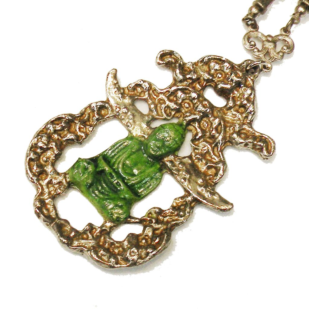 Interesting Link and Ball Chain Green Enameled Buddha Pendant Necklace