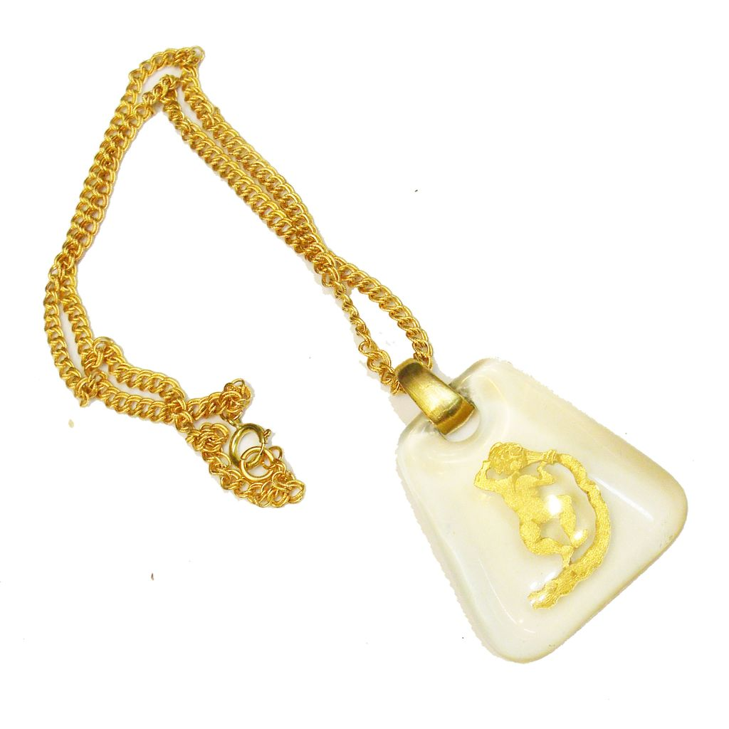 Clear Lucite and Golden Foil Cherub Pendant Necklace