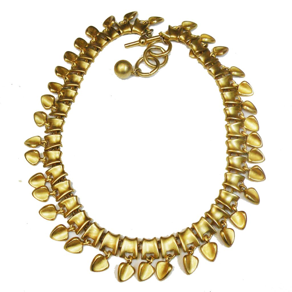 Matte Gold Tone Metal Modernist Dripping Hearts Abstract Link Necklace