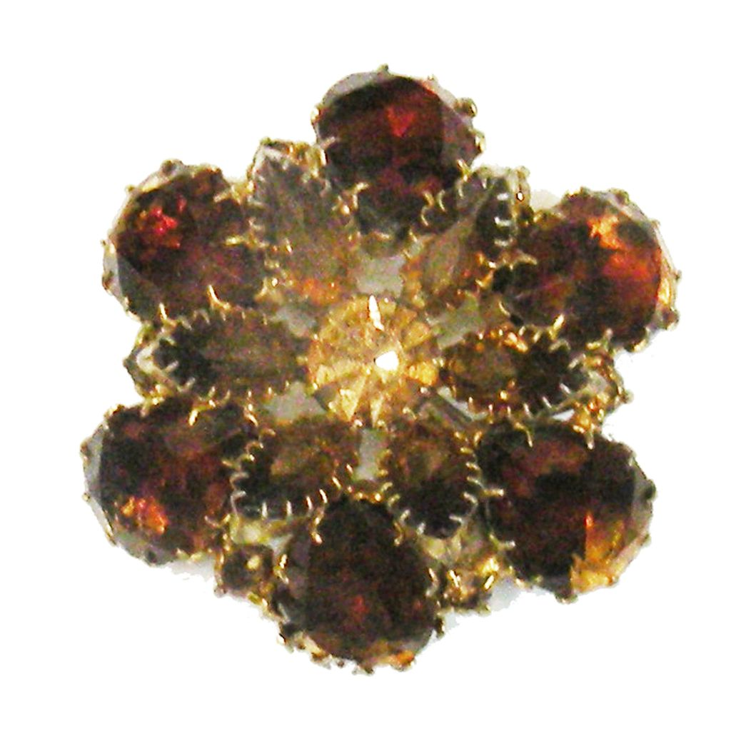 Watermelon and Amber Rhinestone Floral Three Dimensional Brooch