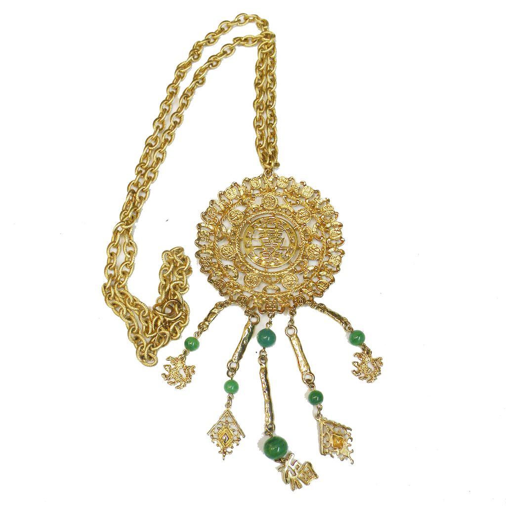 Huge GOLDETTE Asian Inspired Xtra Long Pendant Necklace w Green Glass Drop