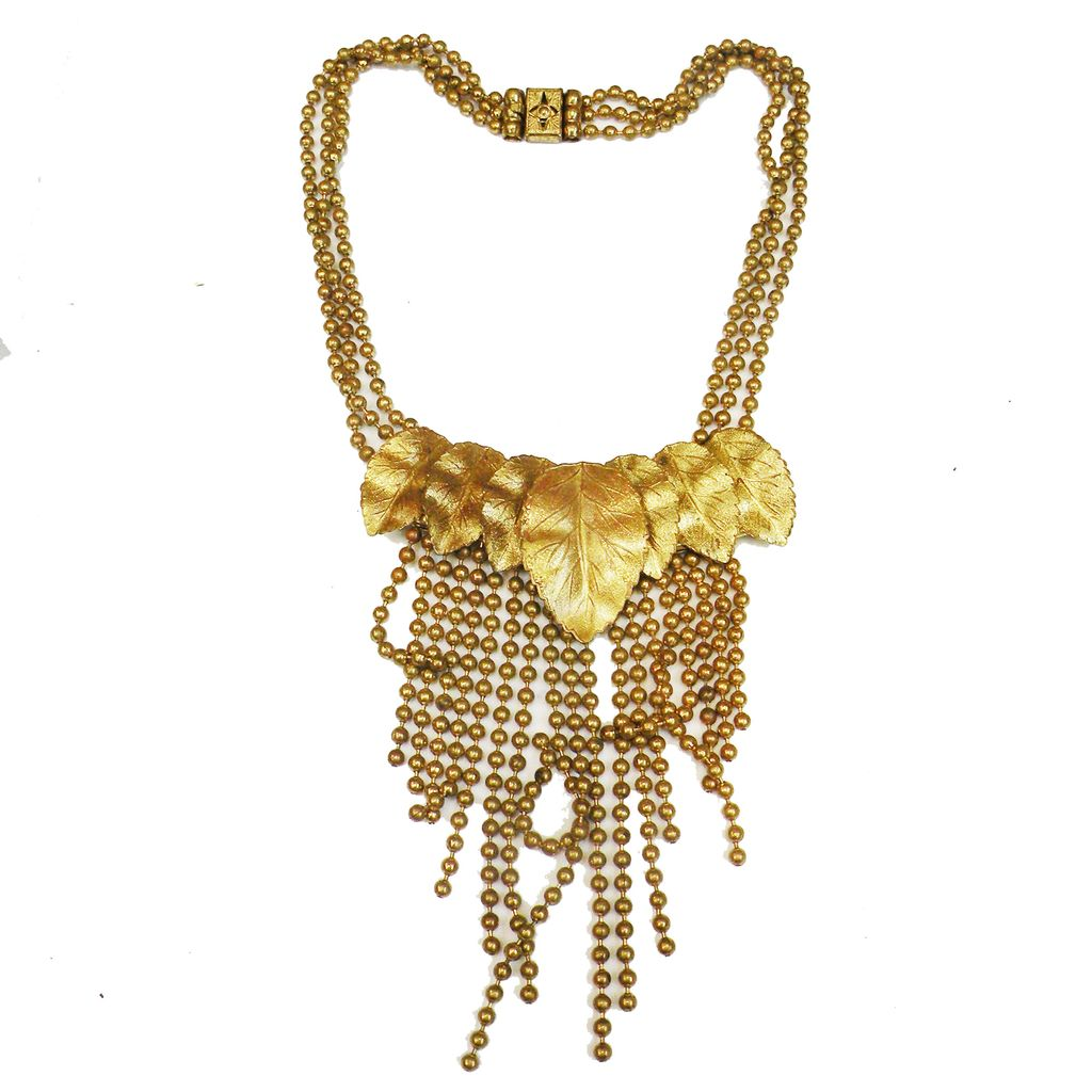 Baroque Brass Beaded Multi Chain and Tassel Fringed Leaf Necklace