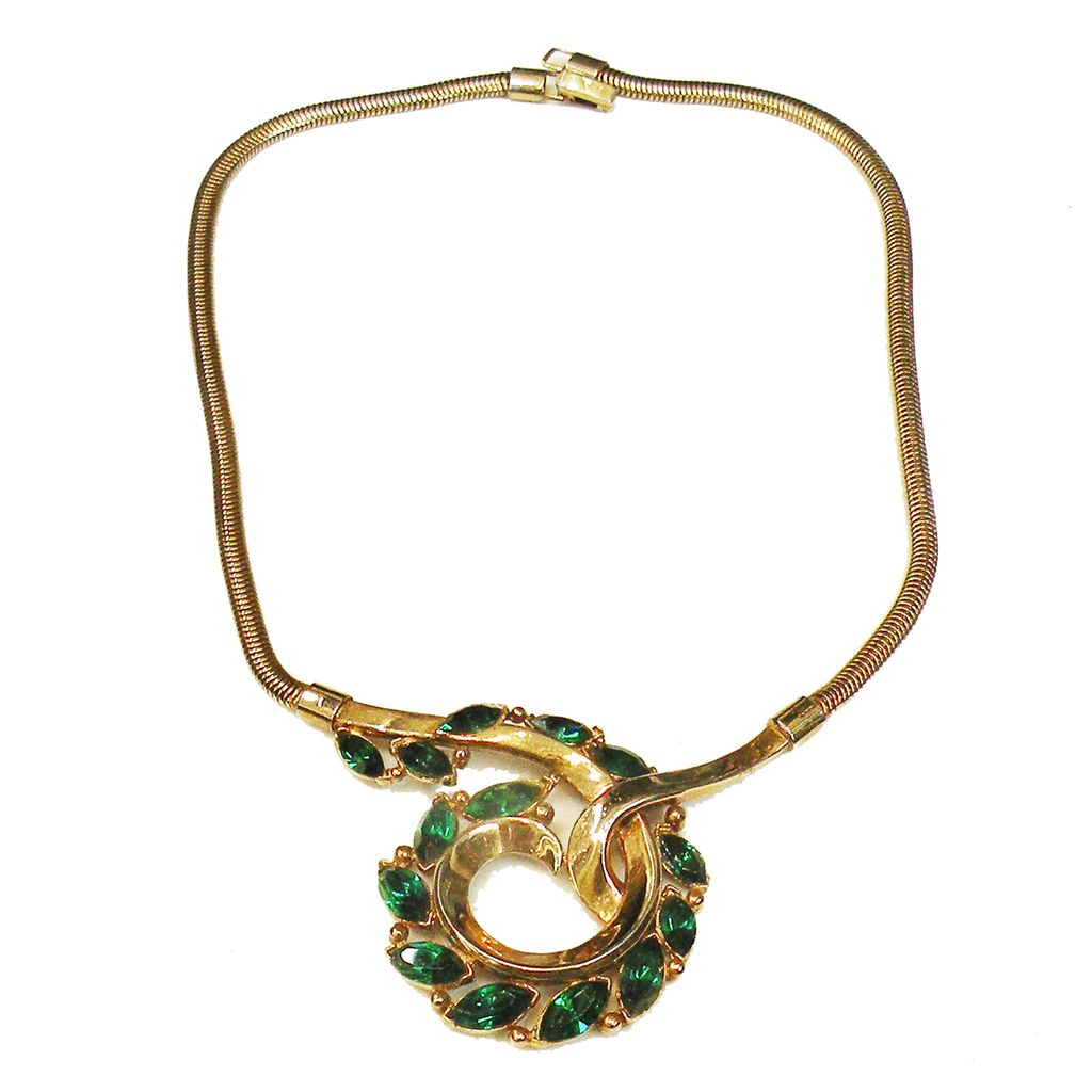 1950's CROWN TRIFARI Pat Pend Green Rhinestone Gold Tone Snake Chain Necklace