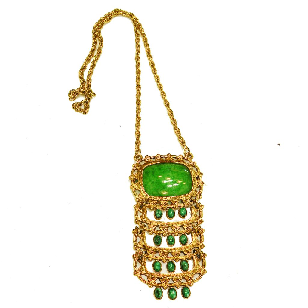 Long Green Byzantine Gold Tone Metal Tiered Pendant Necklace