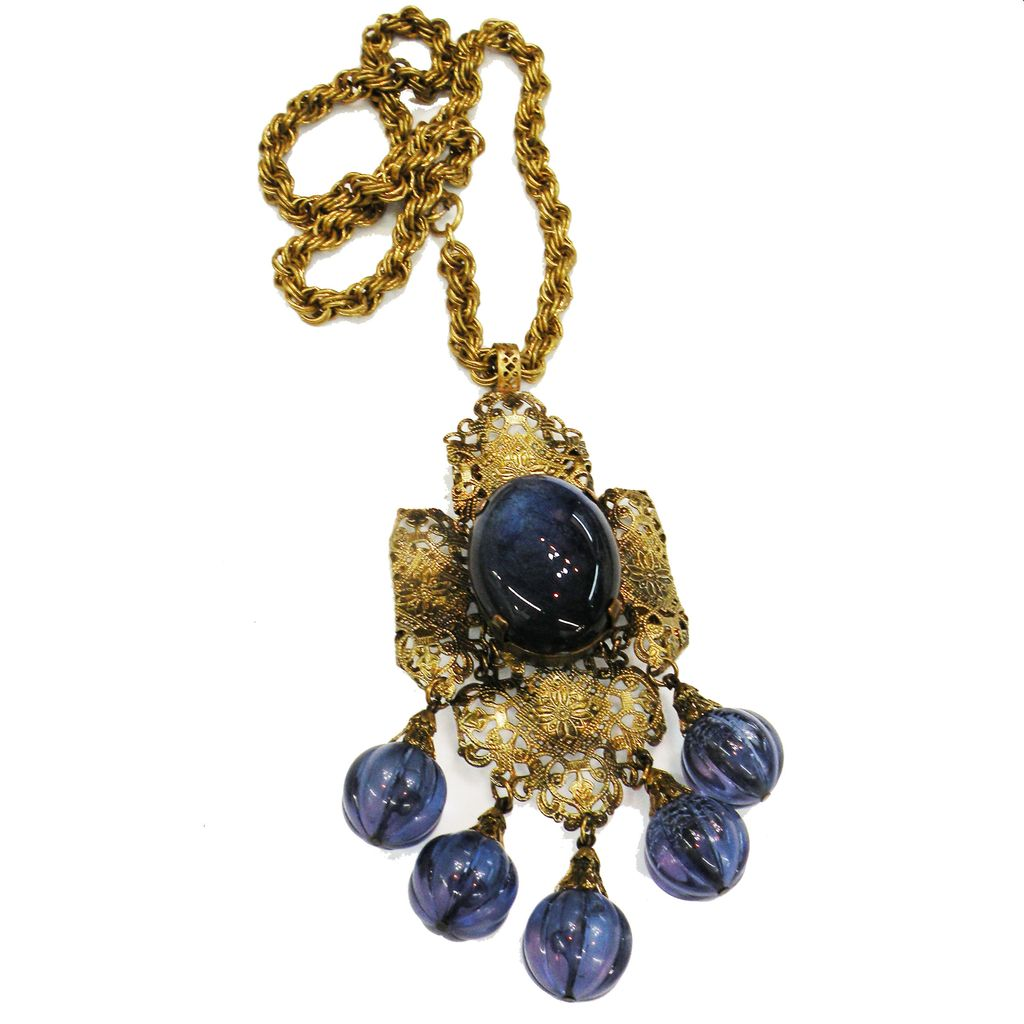 Deep Wisteria Blue Giant Rhinestone and Melon Ball Filigree Pendant Necklace