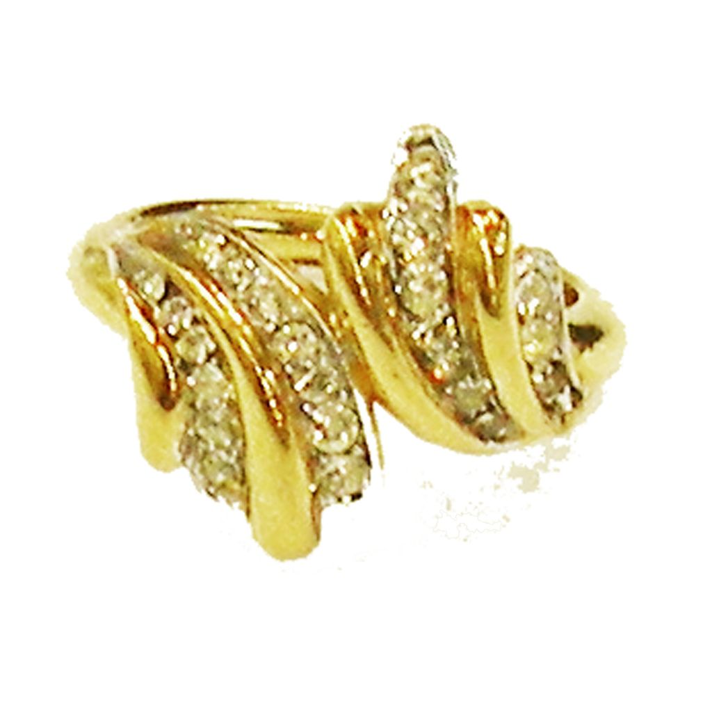 TRIFARI Gold Tone Metal and Pave Rhinestone Cross Over Bypass Wave Ring