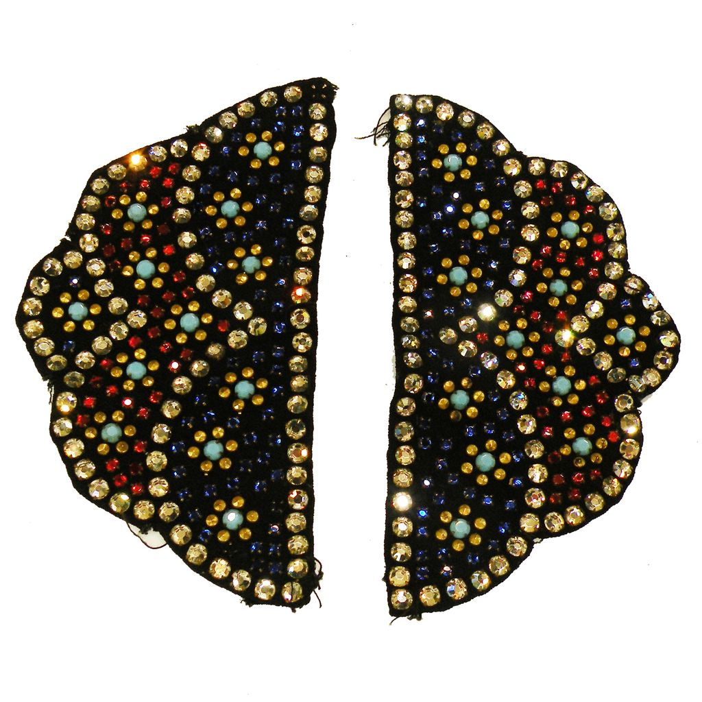 Pair Vintage Multi Color Beaded Appliques on Black