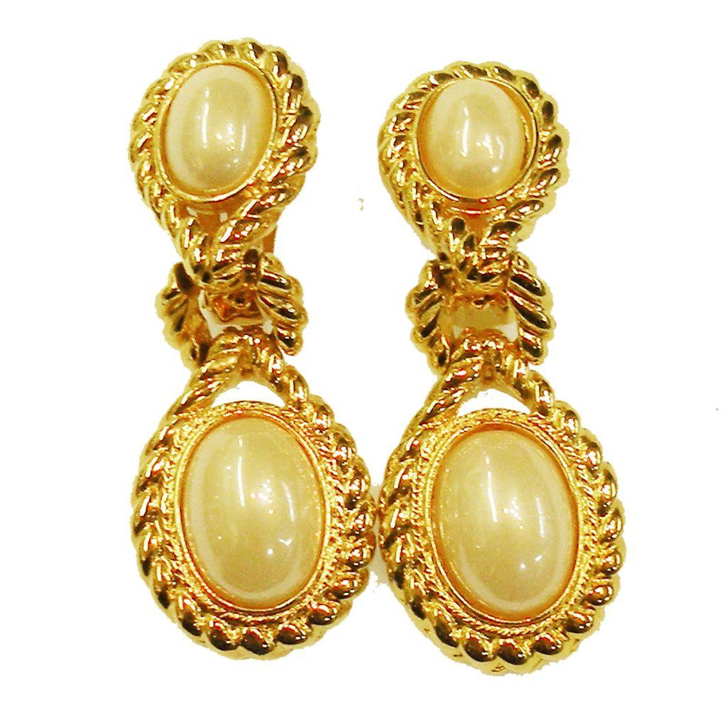 1980s Braided Edge Imitation Pearl Double Drop Earrings
